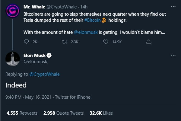 Tesla Has Not Sold Any Bitcoin (BTC) – Elon Musk Altcoin News