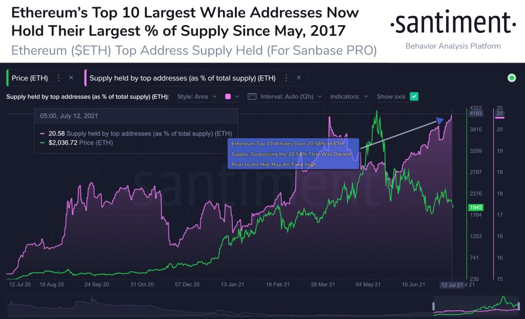 Ethereum's Top 10 Whales Keep Accumulating ETH, Now Hold 20% of Supply Altcoin News